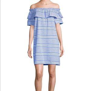 Vineyard Vines off-the-shoulder striped dress